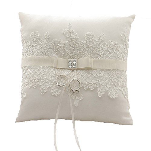 Unbekannt Ringkissen Weiß Hochzeitsaccessoires Kissen für Eheringe Ringe Hochzeit Accessoires