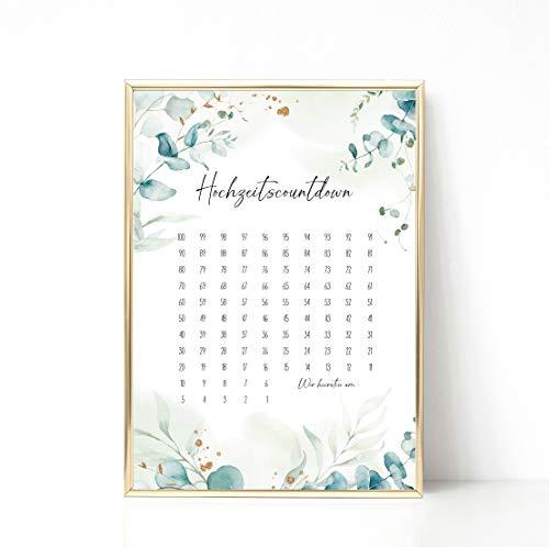 Hochzeits Countdown | 100 Tage bis zur Hochzeit | Verlobungsgeschenk | Kalender Hochzeit Brautpaar | DIY Hochzeitsplanung | DIN A4 Poster | Greenery