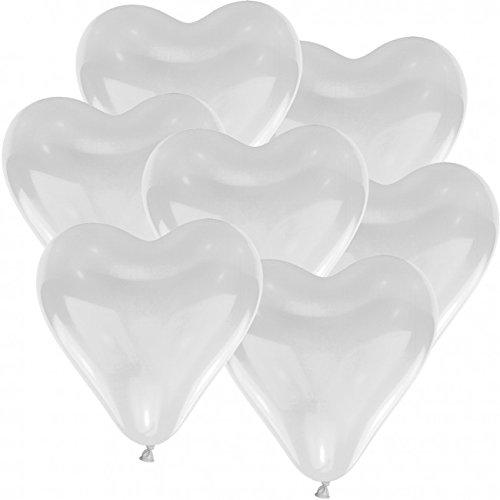 Doriantrade Herz Luftballons weiß Herzballons 100 Stück, Helium Ballons, Ø 30cm, 100% Naturlatex, Luftballon, biologisch abbaubar