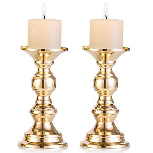 Nuptio 2 Stück Gold Metall Säulen Kerzenhaltern, Hochzeit Mittelstücke Kerzenständer Kerzenständer Weihnachten Dekoration Ideal für Hochzeiten Besondere Anlässe Partys (Passend für 50mm Dia Kerze)
