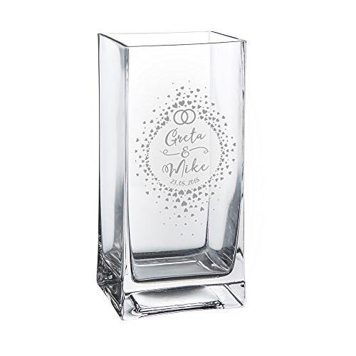 Casa Vivente Glasvase mit Gravur, Kreis aus Herzchen, Motiv Ringe, Personalisiert mit Namen und Datum, Dekoration, Hochzeitsgeschenke für Brautpaar