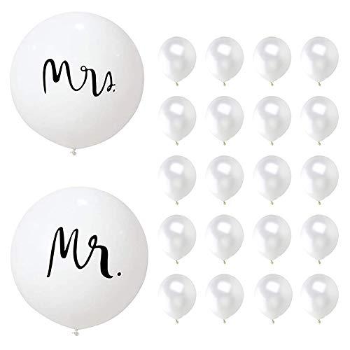 Riesen Hochzeit Luftballons, 36 Zoll Hochzeits Ballongas 90 cm, Hochzeits Ballons, Luftballons Weiß Hochzeit, Latex Ballons Weiß Deko,für Hochzeit Fest Party Brautdusche