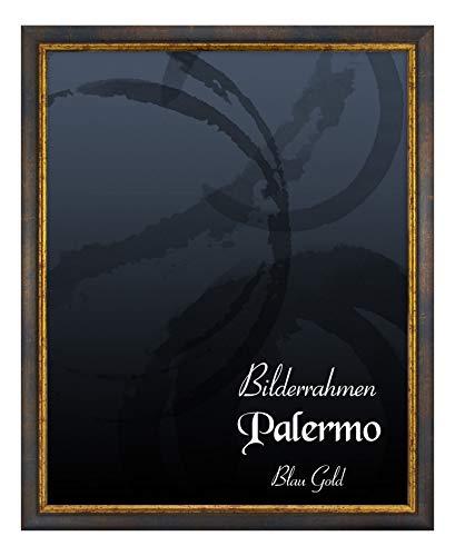 BIRAPA Bilderrahmen Palermo 50x70 cm in Blau Gold aus Massivholz mit Antireflex-Kunstglas