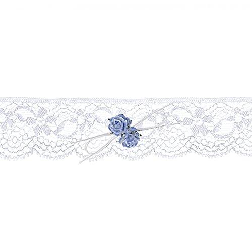 Wunderschönes Strumpfband mit blauen Röschen