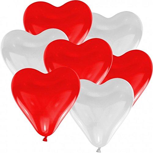 doriantrade 100 Herz Luftballons Ø 30 cm Farbe frei wählbar Herzballons Helium Luftballon (Rot/Weiß)