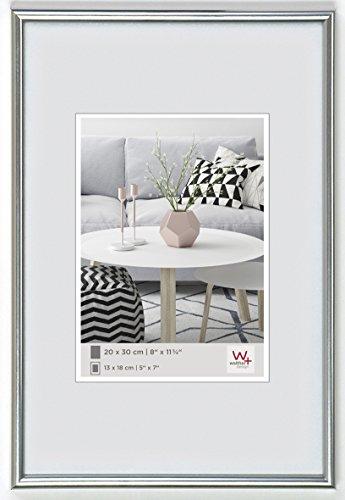 walther design KS070H Galeria Kunststoffrahmen im Format 50 x 70 cm, silber
