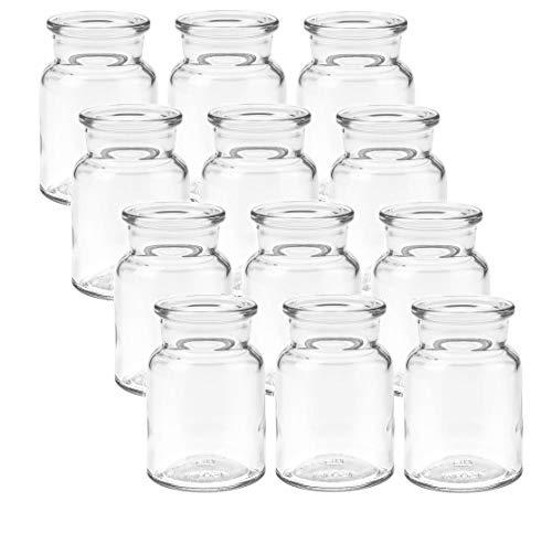 mikken 12 x Kleine Glasvase 9cm Glasflaschen inkl. Flaschenbürste