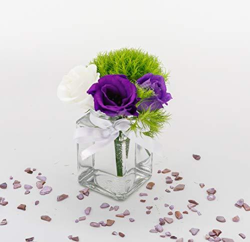 casavetro 12 x kleine Mini Vasen Set eckig-120 ml Glas klar Deko Blumen-Vase Hochzeit (12 x Schleife-Weiss)