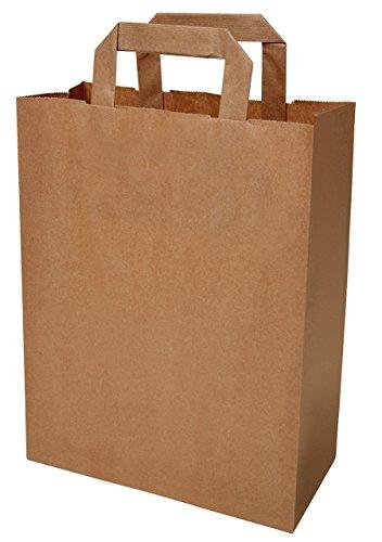 50 Papiertragetaschen Papiertaschen Tüten Papiertüten Tragetaschen braun 22 + 11 x 28 cm