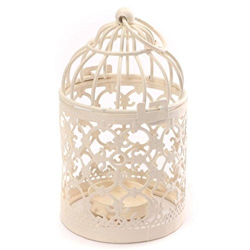 cosanter Kerze Laternen Metall Teelichthalter Hochzeit Home Tisch Dekoration Vogelkäfig weiß 8* 14cm, metall, White x 1PC, 8 x 14 cm
