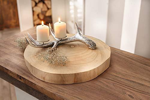 Deko-Scheibe Wood Ø 40 cm Baumscheibe aus naturbelassenem Paulownia-Holz, teilweise mit Rinde bedeckt