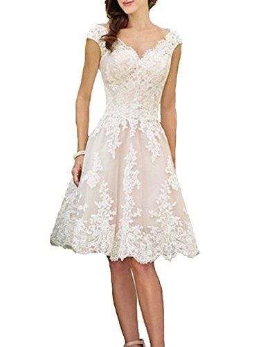 Cloverbridal Hochzeitskleider Für Damen Weiß Standesamt Kurz Tüll Spitze Tiefer Rücken A Linie Champagner Brautkleider Champagner 32