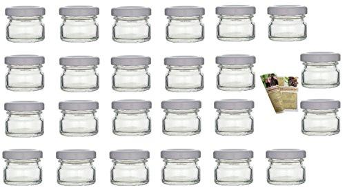 gouveo 48er Set Einmachgläser 'Mini' 30 ml inkl. Drehverschluss Weiß, Vorratsgläser, Marmeladengläser, Einkochgläser, Gewürzgläser, Einweckgläser