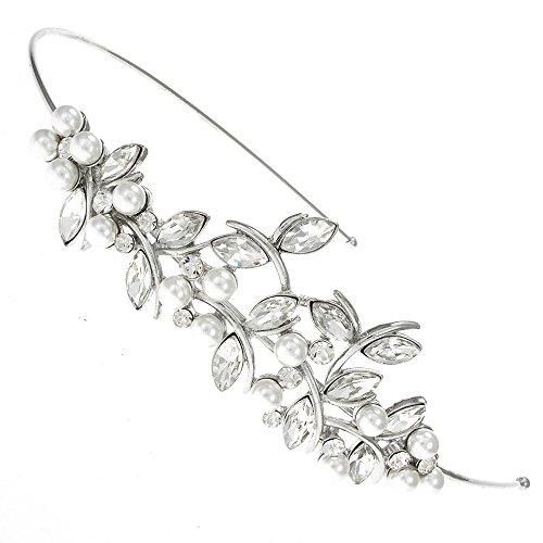 Bridal Wedding Accessories Haarklammer, Diadem, Haarreif, Haarband, Brautschmuck, Blatt-mit Perlen und Swarovski Kristallen
