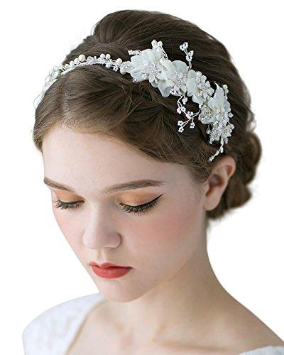 SWEETV Blatt Hochzeit Stirnbänder Kristall Braut Haarbänder Tiara Kopfschmuck (Elfenbein)