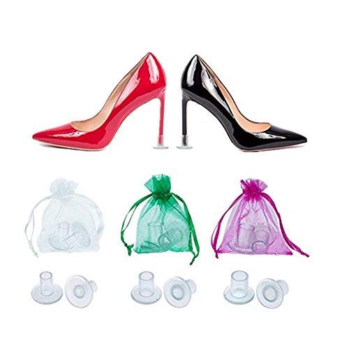 Junxave 12 Paar Absatzschoner Damen High Heel Protectors für Stiletto, S/M/L Stöckelstulpen Absatzschoner Tanzschuhe Absatzschutz High Heel Schutz Schwarz und Transparent