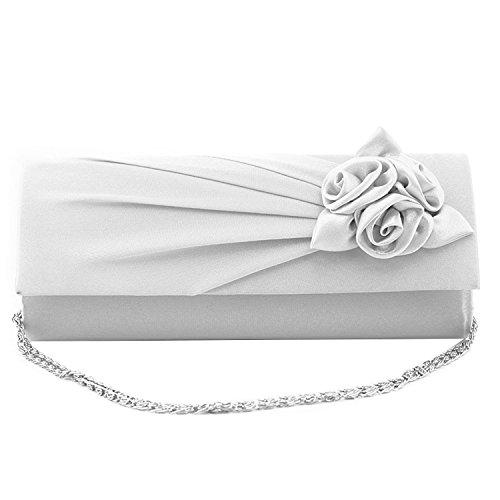 Gosear Damen Frauen Abend Party Prom Jäten Clutch Bag Fashion Seide Rosenstrauß Einzelnes Schulter Handtasche Portemonnaie mit Kette Armband Weiß