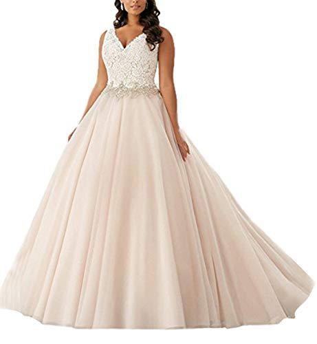 Tianshikeer Brautkleid Spitze Tüll Champagner Lang Damen Hochzeitskleider Große Größen