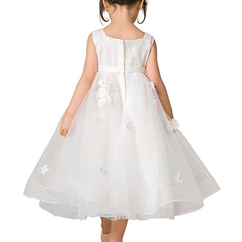 Abbyabbie.Li Blume Mädchen Kleid Kinder Brautjungfer Applikationen Kleid für Hochzeit Party Festzug Blumenblätter Elfenbein Tüll Formal Kleid (13-14 Jahr)