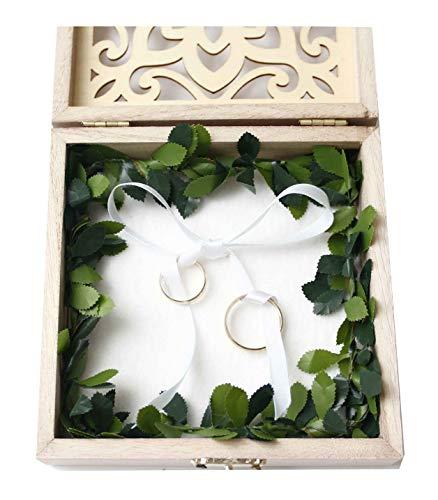 Ringkissen Hochzeit Vintage - Schönes Holz Ringkissen - Ringbox Hochzeit Holz - Ringschachtel aus Holz - Ringkissen Standesamt - Trauring Kissen Vintage