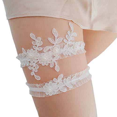 Strumpfband Handgefertigt Braut Personalisiert Stickerei Weiß Spitze Gekräuselt Blume und Blätter Geformt Strass Perle Hochzeit Einstellbar Bein Ring