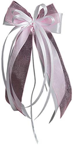 10 x Antennenschleife Autoschleife Autoschmuck Hochzeit SCH0093 weiß rosa