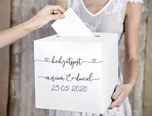 Kartenbox Hochzeit Hochzeitspost personalisiert mit Daten des Paares