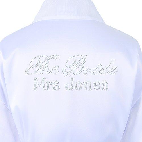 Luxus-Bademantel aus Satin für die Braut, Kimono, Hochzeit, Kristallsteine, personalisierbar weiß