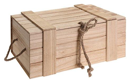 Meinposten Holzkiste mit Deckel Kiste Schatzkiste Schatztruhe Holzkasten Holz braun Truhe mit Deckel (H 18 x B 42 x T 30 cm)