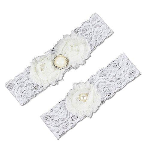 G2PLUS Weisses Hochzeit Strumpfband Wedding Garter Brautaccessoire für Braut (Weiß)