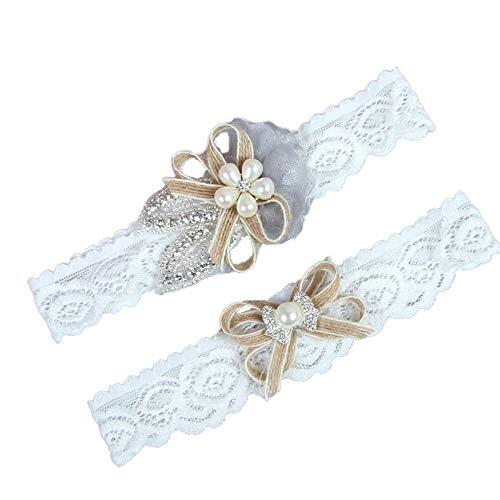 Charm4you Hochzeit Strumpfband für Braut Kristall,Braut Hochzeit Zubehör elastische Beinschlaufe Spitze Strumpfband-Weiß 5pcs_M,Hochzeit Braut Lace Strumpfband