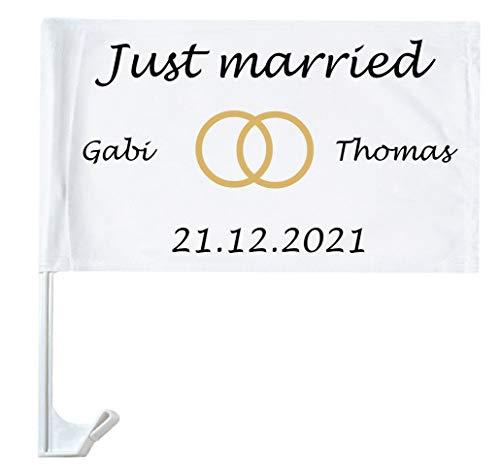 Autofahne Hochzeit mit Namen personalisiert Autoflagge Wunschname Heirat Just Married 1