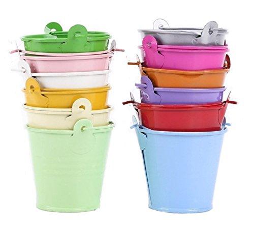 leisial 12Übertopf für Blumen Mini Buckets Metall-Dose Barrel Tisch Dekoration (zufällige Farbe)