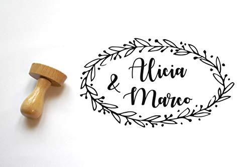 Stempel Hochzeit, Personalisierter Hochzeitsstempel, Chic und Landhochzeit, ovale Form, Blumenkrone, Personifizierung mit Namen, ländlich Stempel, Hochzeitsbriefpapier