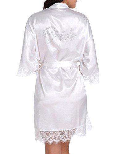 WPFING Hochzeits Roben für Brautpart Polyester Spitze Braut Nnachthemd Weiß Frauen Roben Small