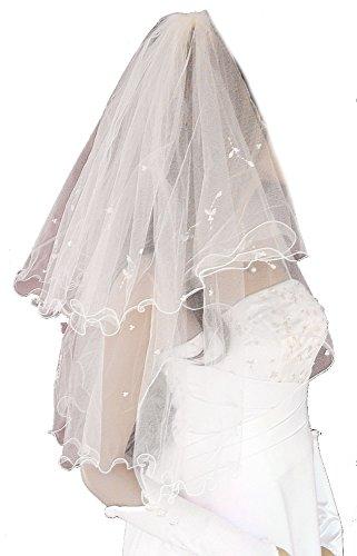 LadyMYP© 2lg Brautschleier, Kurbelkante, Blütenrispen aus Satin und Perlen, 50/68 cm, weiß/ivory(hellcreme, Elfenbein) (Ivory(Hellcreme))