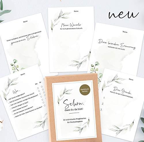 40 Gästebuch-Karten für die Hochzeit mit Box - DIN A6 / Schön, dass du da bist-Karten/Hochzeitsgeschenk/Hochzeitsspiel/Eukalyptus & Greenery