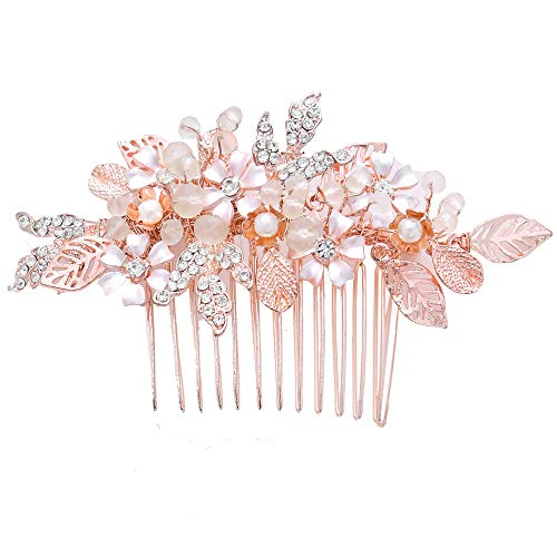 Roségold Haarschmuck für Hochzeit,Elegant Rose Gold Haarkamm für Mädchen Brautschmuck,Haarschmuck kamm Tiara Jewelry Diadem Hochzeit