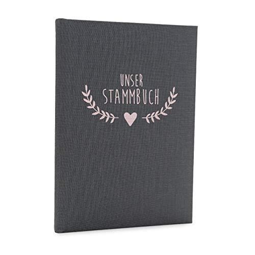 Hochzeitideal Stammbuch der Familie, Familienstammbuch 'Boho' aus Buchbinderleinen (Grau)