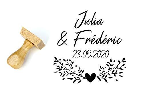 Hochzeit Stempel, Personalisiert mit Namen & Datum, Hochzeit Papeterie, Landhausstil, 4 cm