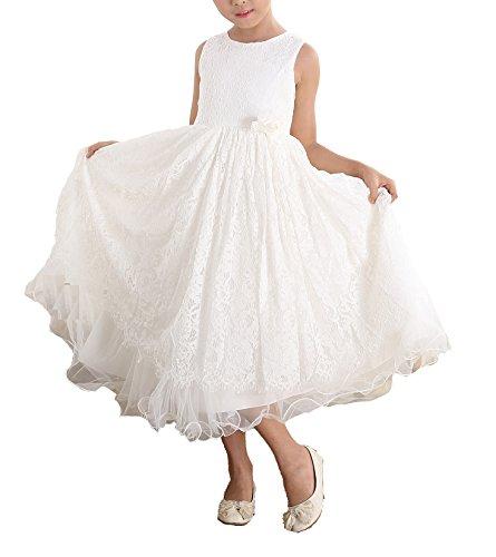 Cinda Elfenbein Spitze Brautjungfer Kleid Blumenmädchen Kleid Elfenbein 110-116(Fabriknummer 6)