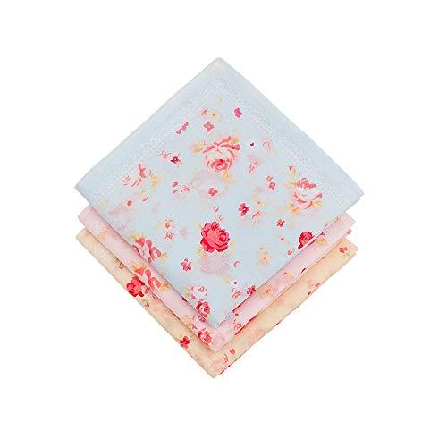 HOULIFE 3 Stücke Damen Rose Blumen Taschentücher aus reiner Baumwolle 45x45cm 3 Farben für Alltagsgebrauch