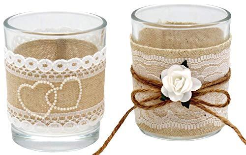 2X Teelichtglas Glas Hochzeit Vintage Tischdeko Natur Deko