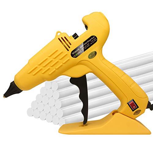 Wiecok Heißklebepistole 60W mit 20 Stück 11mm x 200mm Heißklebesticks Transparente Klebesticks, Schmelzende Klebepistole Set für Hobby, Schule DIY Kunst, Handwerk, Schnelle Reparaturen in Haus & Büro