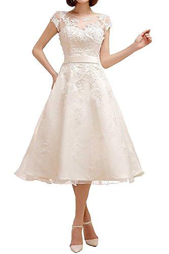 Cloverbridal 2017 Elegante A-Linie Kurz Hochzeitskleid Kurze Ärmel Knielänge Brautkleider