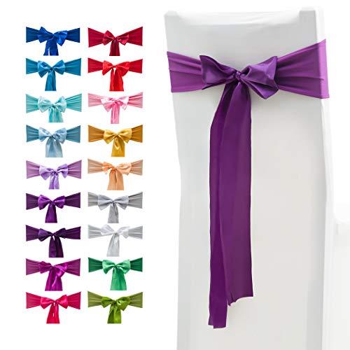 Elastische Stuhl-Schleifen mit Satinschleifen, für Hochzeiten, Partys, Dekorationen, 10 Stück 10 Stück deep purple