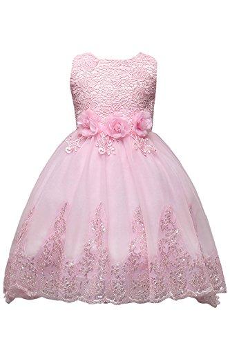 Babyonlinedress Kinder Mädchen Blumenmädchen Kleider Kleid Festlich Hochzeitkleid Partykleid Cocktailkleid Spitzenkleid Brautjunfernkleid Rosa 130 cm