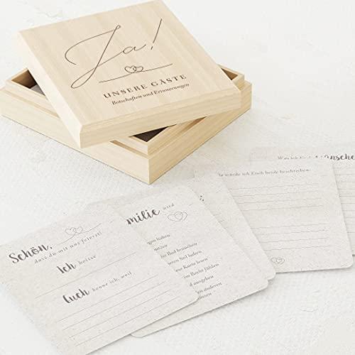 sendmoments Fragekarten zum Ausfüllen, Gästebuch Hochzeit, 60 vorgedruckte Gästebuchkarten 88 x 105 mm in edler Erinnerungsbox 113 x 130 mm mit individueller Gravur, Herzen-Motiv, Hochzeitsgeschenk
