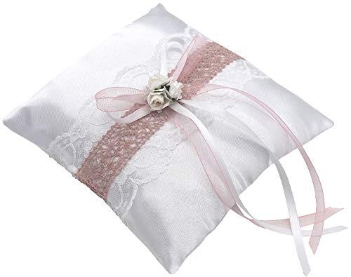 ZauberDeko Ringkissen Marina Vintage Weiß Rosa Hochzeit Braut Traukissen Ringe