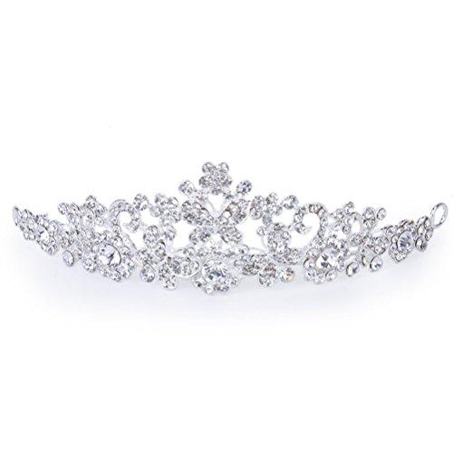 TinkSky Zarte Hochzeit Braut Prom Shining Crystal Strass Schmetterling Liebe Blume Krone Stirnband Schleier Diadem (Silber)